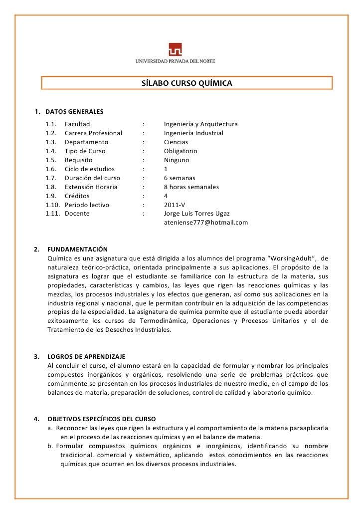 SÍLABO CURSO QUÍMICA1. DATOS GENERALES     1.1.    Facultad                :      Ingeniería y Arquitectura     1.2.    Ca...