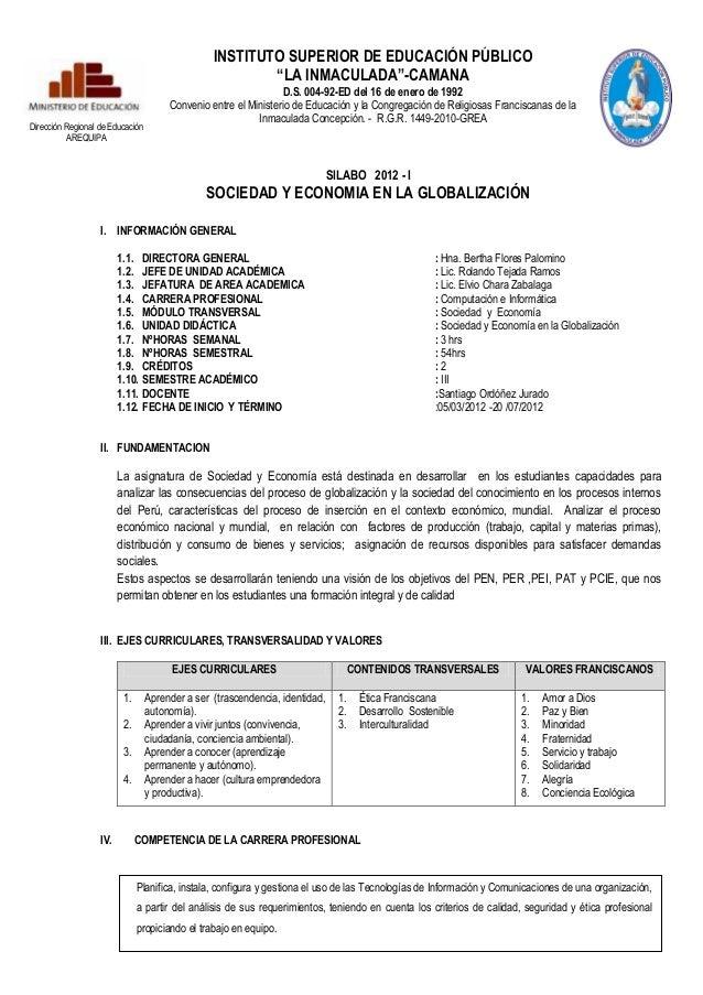 """INSTITUTO SUPERIOR DE EDUCACIÓN PÚBLICO                                                         """"LA INMACULADA""""-CAMANA    ..."""