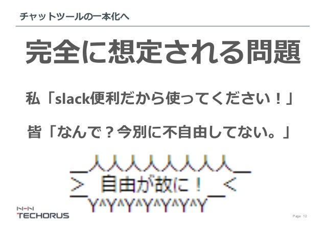 Page 12 チャットツールの一本化へ 完全に想定される問題 私「slack便利だから使ってください!」 皆「なんで?今別に不自由してない。」