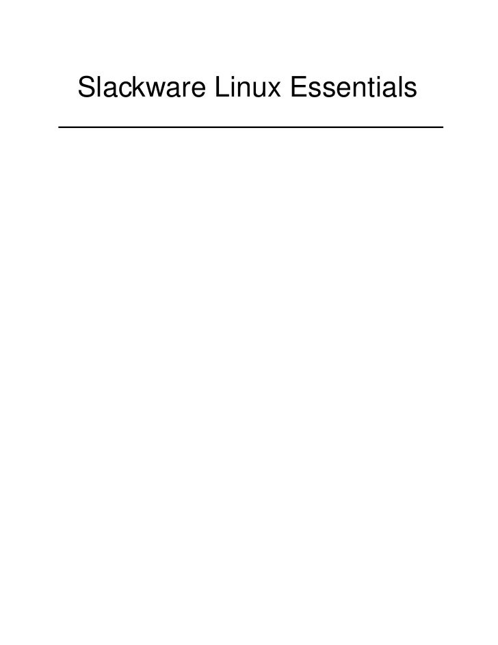 Slackware Linux Essentials