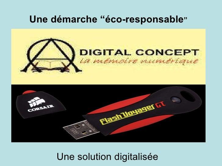 """Une démarche """"éco-responsable """" Une solution digitalisée"""
