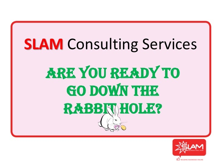 SLAM Consulting Services  Are You Ready To    Go Down The    Rabbit Hole?