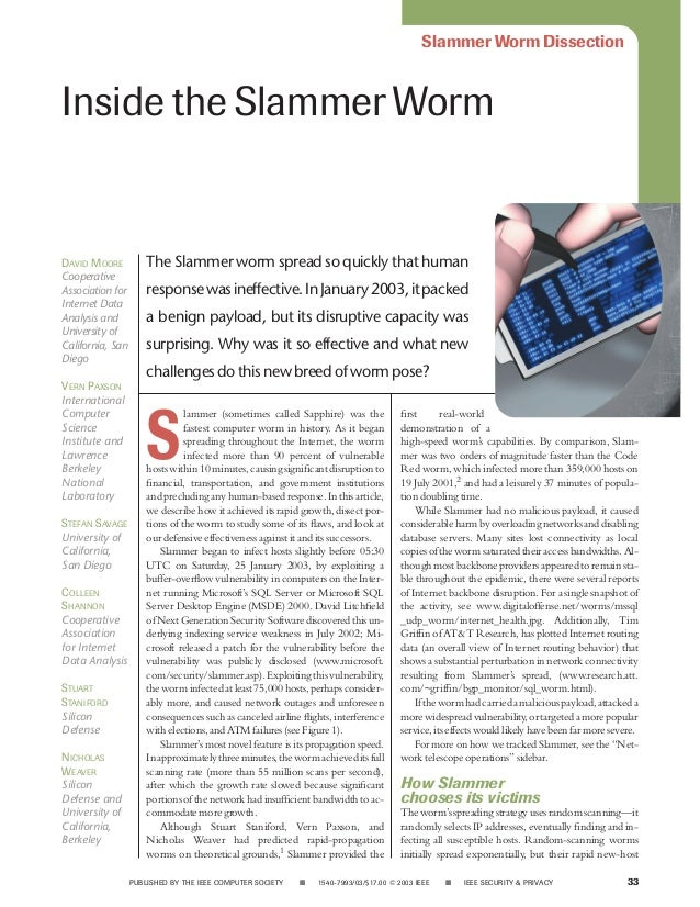 Slammer Worm DissectionInside the Slammer WormDAVID MOORE           The Slammer worm spread so quickly that humanCooperati...
