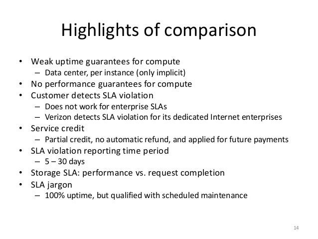Highlights of comparison • Weak uptime guarantees for compute – Data center, per instance (only implicit) • No performance...