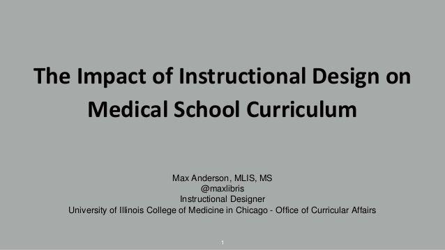 The Impact of Instructional Design on Medical School Curriculum Max Anderson, MLIS, MS @maxlibris Instructional Designer U...