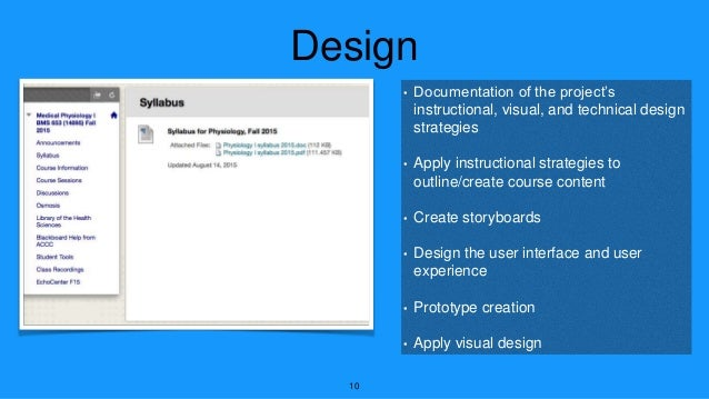 Design • Documentation of the project's instructional, visual, and technical design strategies • Apply instructional strat...
