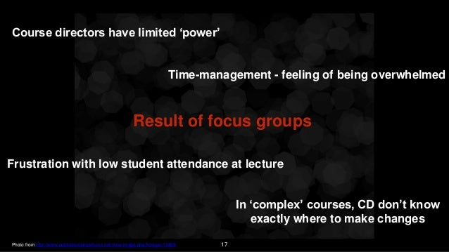 17 Result of focus groups Course directors have limited 'power' In 'complex' courses, CD don't know exactly where to make ...