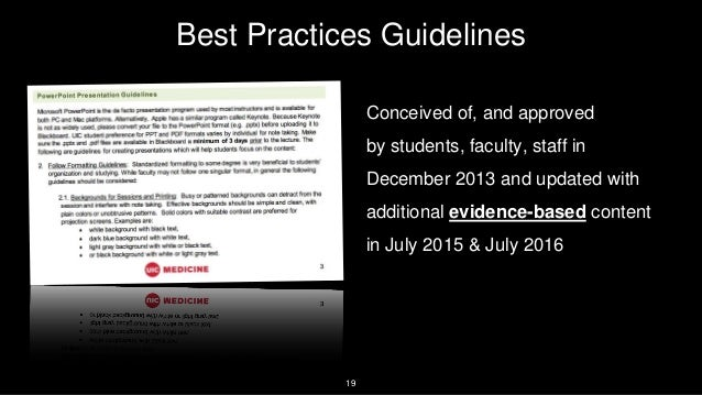 19 Best Practices Guidelines Conceived of, and approved by students, faculty, staff in December 2013 and updated with addi...