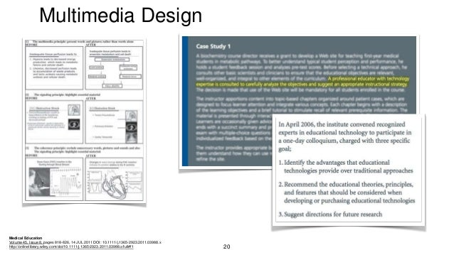 Multimedia Design Medical Education Volume 45, Issue 8, pages 818-826, 14 JUL 2011 DOI: 10.1111/j.1365-2923.2011.03988.x h...