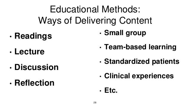 Educational Methods: Ways of Delivering Content • Readings • Lecture • Discussion • Reflection • Small group • Team-based ...