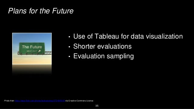 35 Plans for the Future • Use of Tableau for data visualization • Shorter evaluations • Evaluation sampling Photo from htt...