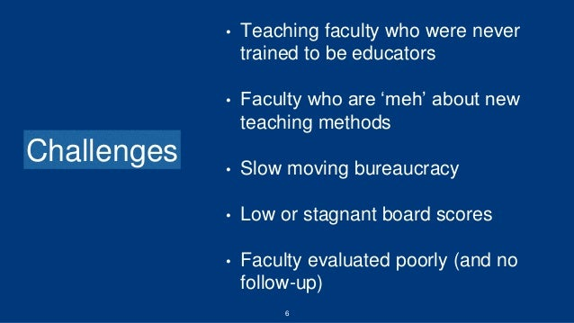 6 Challenges • Teaching faculty who were never trained to be educators • Faculty who are 'meh' about new teaching methods ...