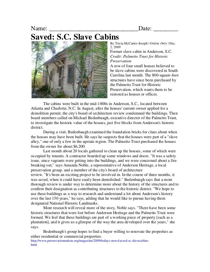 Name: _____________________________Date: ________Saved: S.C. Slave Cabins                                                 ...