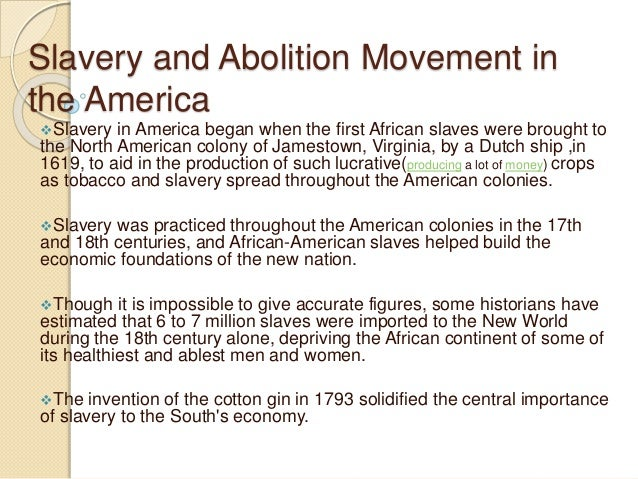 Slavery and abolition movement in USA
