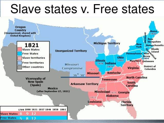 Slave States And Free States Wikipedia Slavery In America - Map of us in 1821