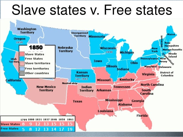 Slavery Promises: Map Of Slave States And Free States At Usa Maps