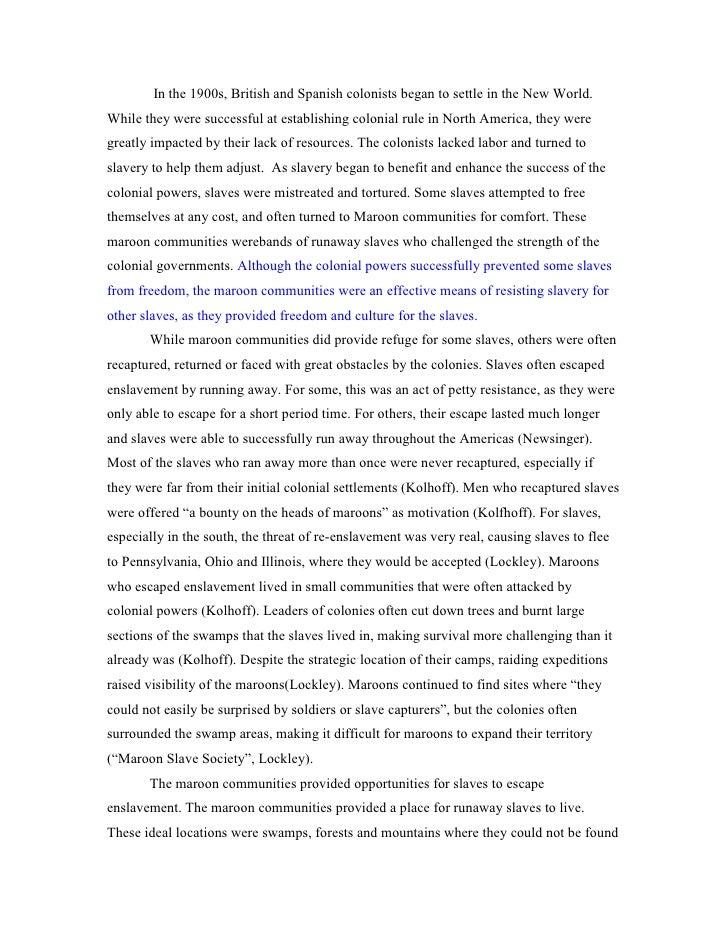Runaway slave essay