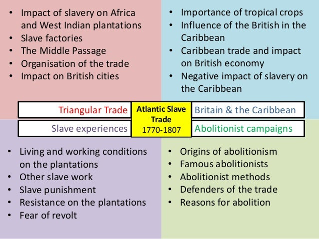 Atlantic Slave Trade 1770-1807 • Impact of slavery on Africa and West Indian plantations • Slave factories • The Middle Pa...