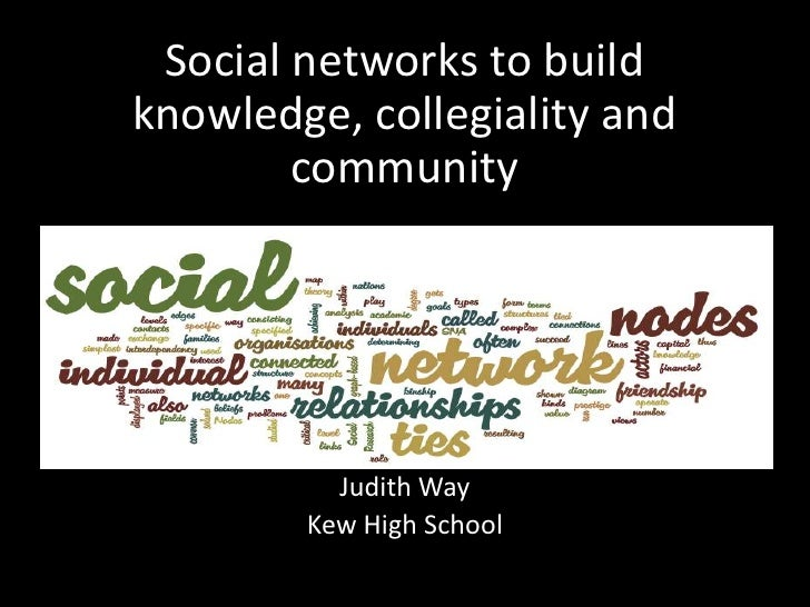 Social networks to build knowledge, collegiality and community<br />Judith WayJudith Way<br />Kew High School<br />