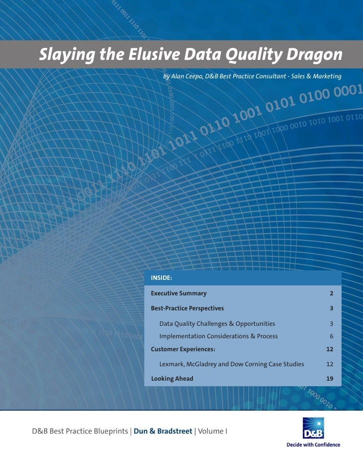 Slaying the Elusive Data Quality Dragon                  by Alan Ceepo, D&B Best Practice Consultant - Sales & Marketing  ...