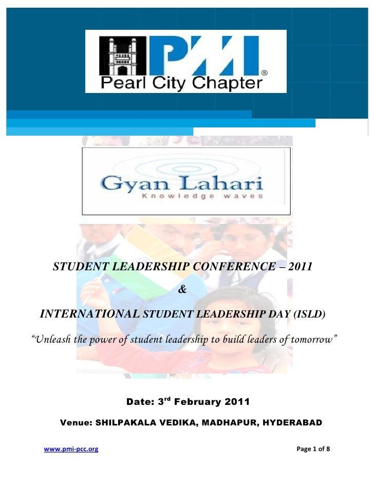 "STUDENT LEADERSHIP CONFERENCE – 2011                                 &  INTERNATIONAL STUDENT LEADERSHIP DAY (ISLD)""Unleas..."