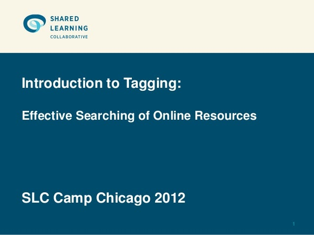 Introduction to Tagging:Effective Searching of Online ResourcesSLC Camp Chicago 2012                                      ...