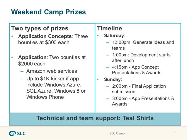 Weekend Camp PrizesTwo types of prizes               Timeline•  Application Concepts: Three    •    Saturday:   bounties a...