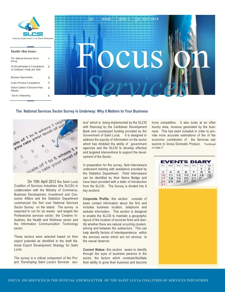 IS SUE2         VO L 4          April 2 0 1 2 Inside this issue: The National Services Sector Survey SLCSI participates in...