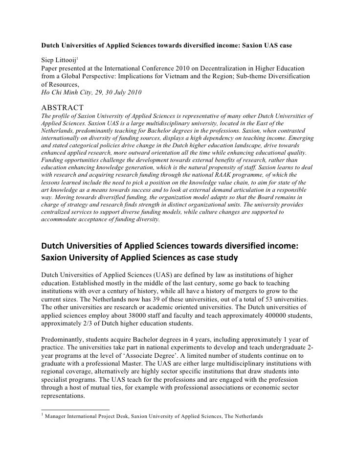 Dutch Universities of Applied Sciences towards diversified income: Saxion UAS caseSiep Littooij1Paper presented at the Int...