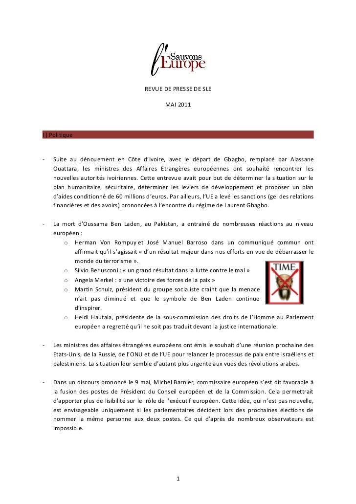 REVUE DE PRESSE DE SLE                                               MAI 2011I ) Politique-   Suite au dénouement en Côte ...