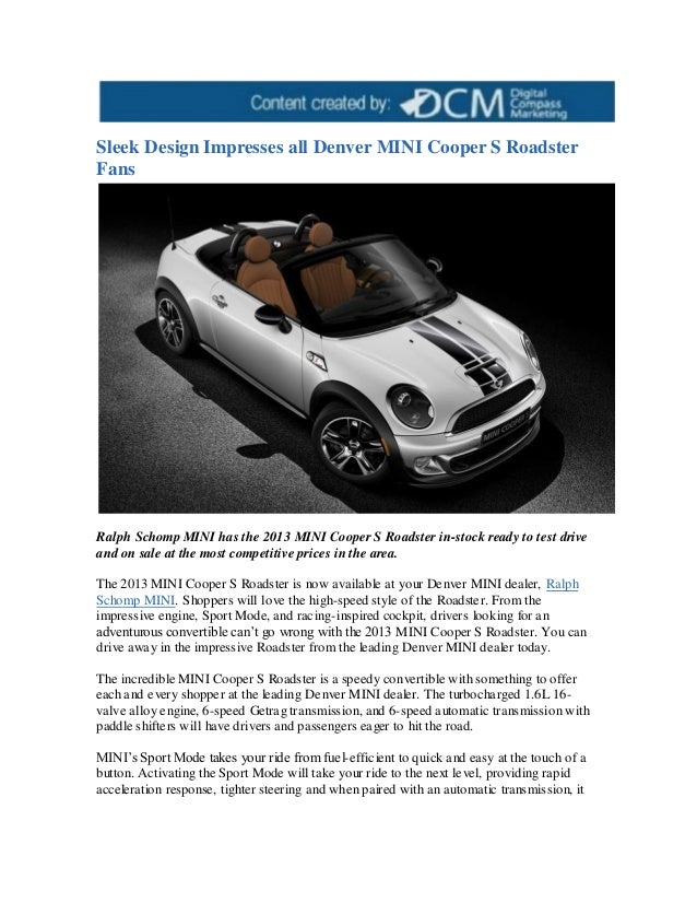 Sleek Design Impresses All Denver Mini Cooper S Roadster Fans