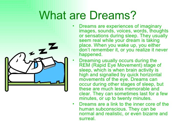 informative speech about dream Thesis statement: understanding how dreams occur, how they affect our lives and what they mean help us grasp what dreams actually are intro: i (attention.