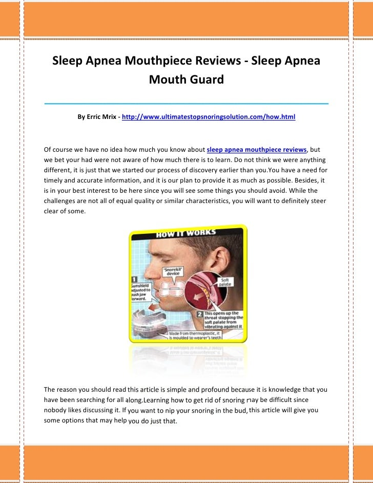 Sleep Apnea Mouthpiece Reviews - Sleep Apnea                  Mouth Guard_________________________________________________...