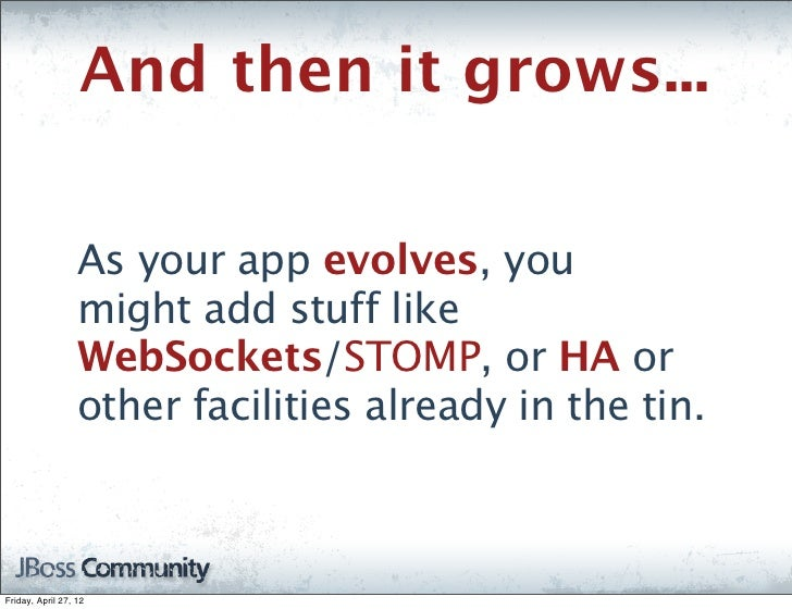 And then it grows...                  As your app evolves, you                  might add stuff like                  WebS...