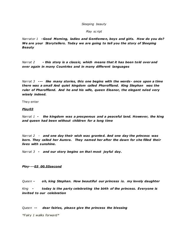 graphic about Free Printable Play Scripts titled Sleeping attractiveness (engage in script)