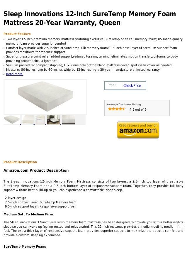 Sleep innovations 12 inch sure temp memory foam mattress ...