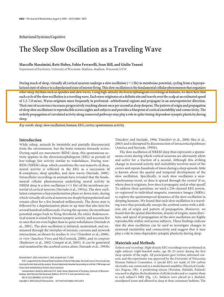 6862 • The Journal of Neuroscience, August 4, 2004 • 24(31):6862– 6870Behavioral/Systems/CognitiveThe Sleep Slow Oscillati...