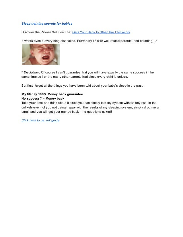 Sleep training secrets for babies Discover the Proven Solution That Gets Your Baby to Sleep like Clockwork It works even i...