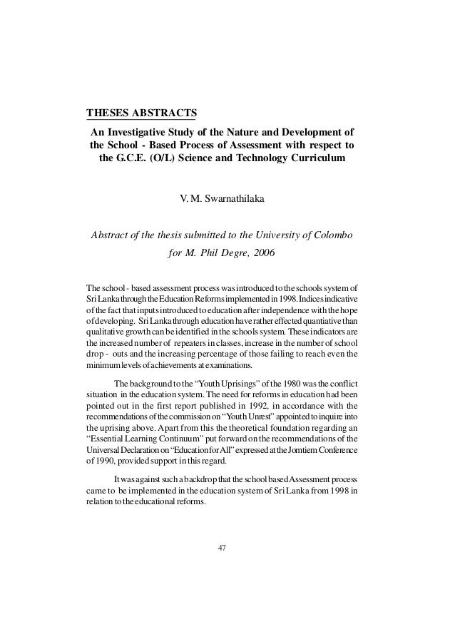 education thesis abstract I professional abstracts: dissertation abstract: i explore the importance of financial aid for students whose parents have low levels of education.
