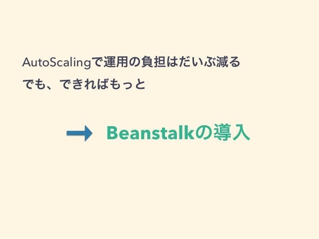 AutoScalingで運用の負担はだいぶ減る でも、できればもっと Beanstalkの導入 AutoScalingで運用の負担はだいぶ減る でも、できればもっと