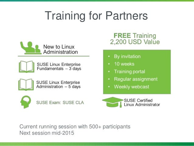 Training for Partners Current running session with 500+ participants Next session mid-2015