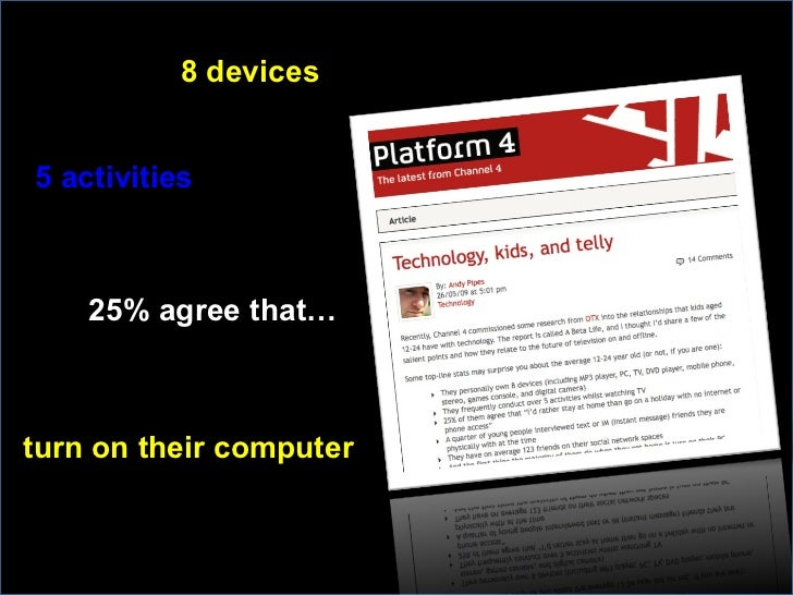 8 devices turn on their computer 25% agree that… 5 activities