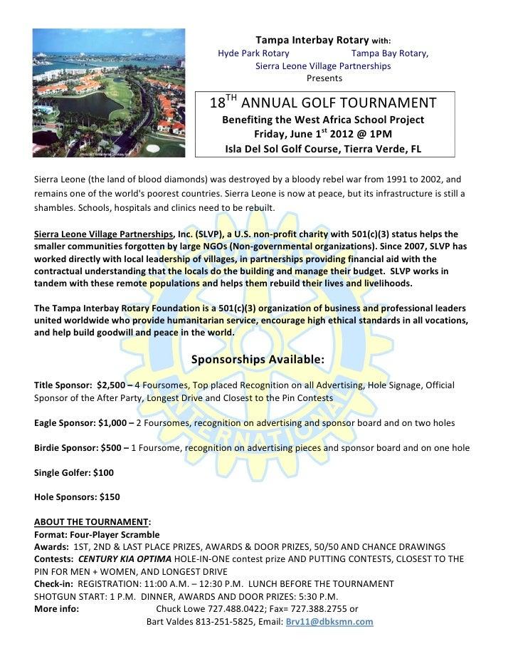 6/1/12 Tampa Interbay Rotary Golf Tournament SLVP Benefit Sign-Up & I…
