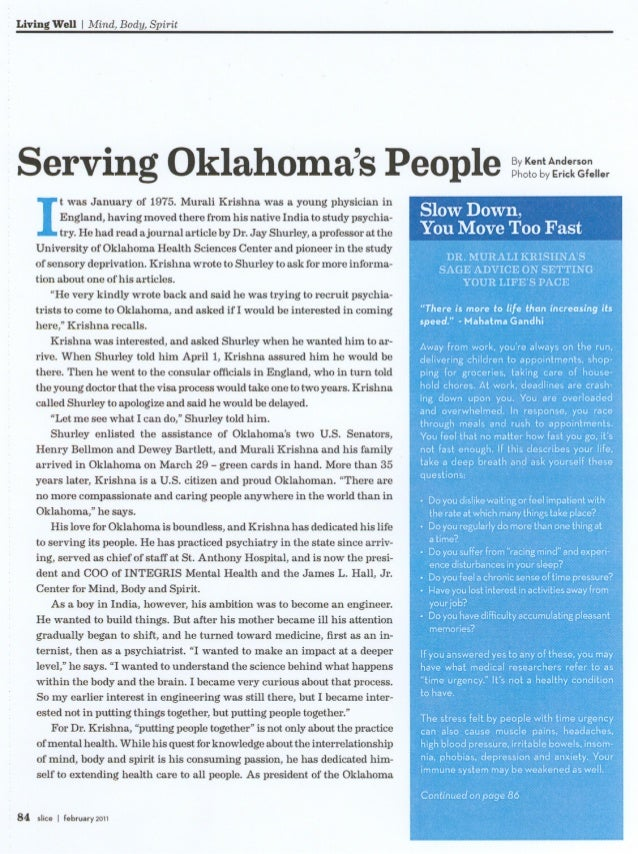 Living Well IMind, Body, Spirit Serving Oklahoma's People ~(:,:n:yA;'~ It was January of 1975. Murali Krishna was a young ...