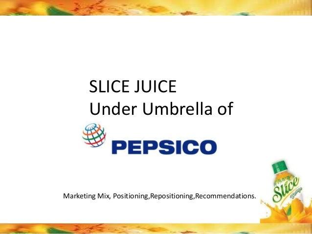 SLICE JUICE       Under Umbrella ofMarketing Mix, Positioning,Repositioning,Recommendations.