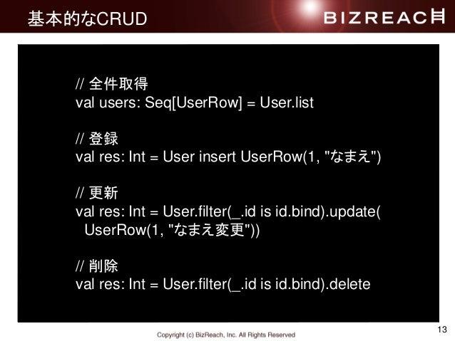 """13 基本的なCRUD // 全件取得 val users: Seq[UserRow] = User.list // 登録 val res: Int = User insert UserRow(1, """"なまえ"""") // 更新 val res: ..."""