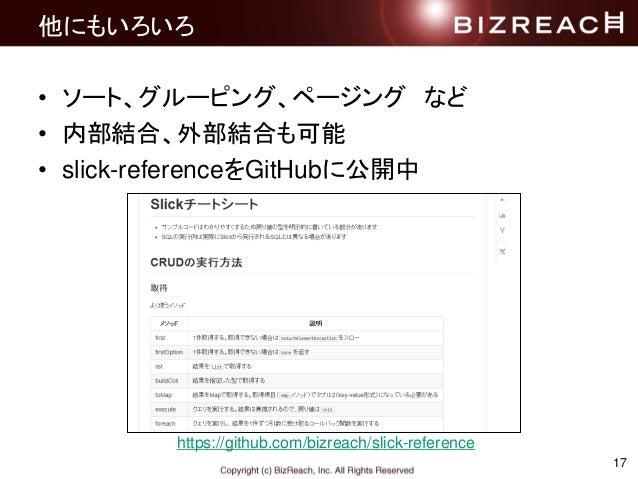 17 他にもいろいろ • ソート、グルーピング、ページング など • 内部結合、外部結合も可能 • slick-referenceをGitHubに公開中 https://github.com/bizreach/slick-reference