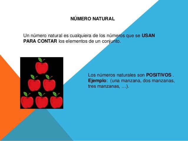 NÚMERO NATURAL  Un número natural es cualquiera de los números que se USAN  PARA CONTAR los elementos de un conjunto.  Los...