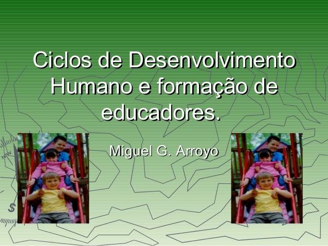 Ciclos de DesenvolvimentoCiclos de Desenvolvimento Humano e formação deHumano e formação de educadores.educadores. Miguel ...