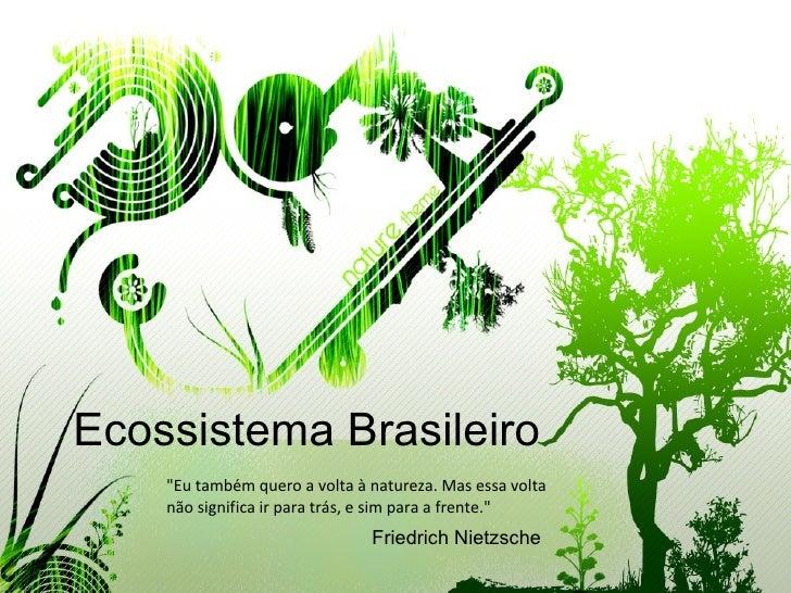 """Ecossistema Brasileiro """"Eu também quero a volta à natureza. Mas essa volta não significa ir para trás, e sim para a f..."""